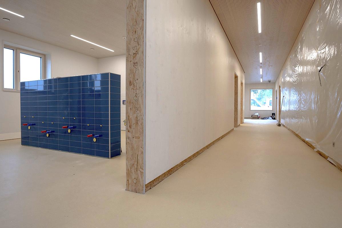 Kindergartenneubau: Der Zementestrich wurde mit dem Hydro-Block-System beschichtet. Foto: Uzin