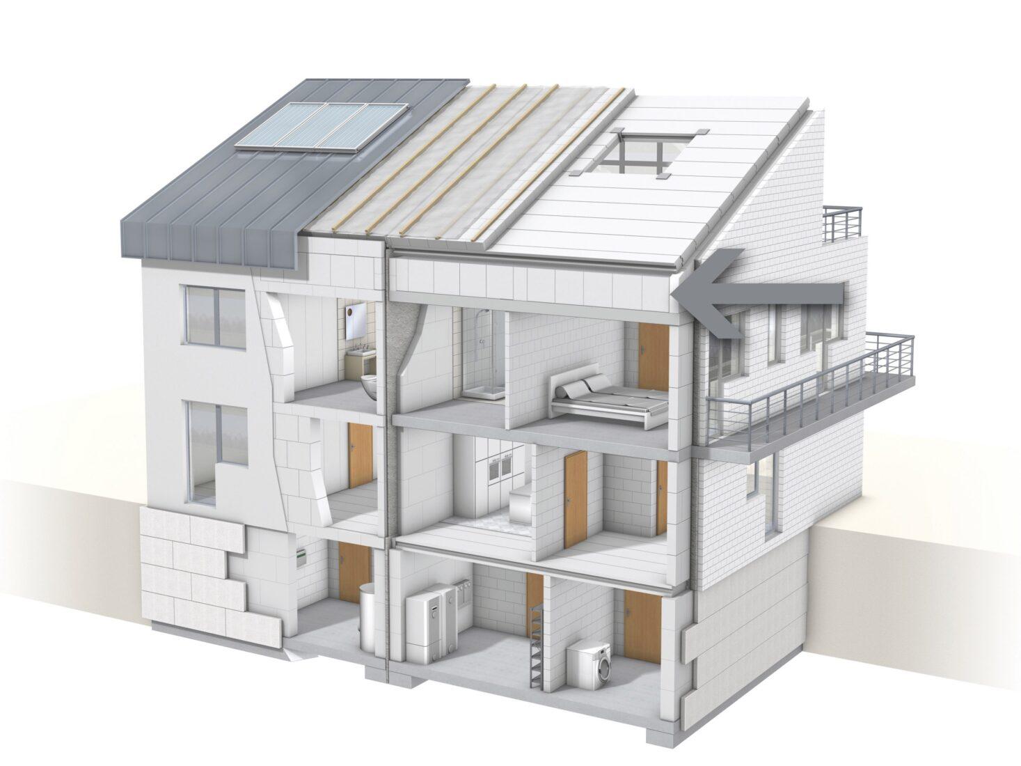 Der Kniestock verbindet Außenwände und Dachstuhl. Foto: Xella