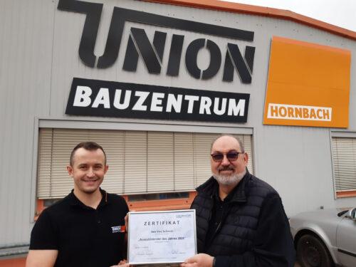 Der Zweitplatzierte Vinz Schmidt (l.) mit Günter Warken, Niederlassungsleiter bei der Hornbach Baustoff Union in Neustadt.