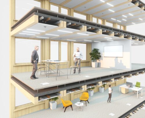 """Die HBV-Decke """"Suprafloor ecoboost2"""" für mehrgeschossige Bürobauten hat eine integrierte Heiz-/Kühlfunktion. Foto: ERNE AG Holzbau, Laufenburg"""