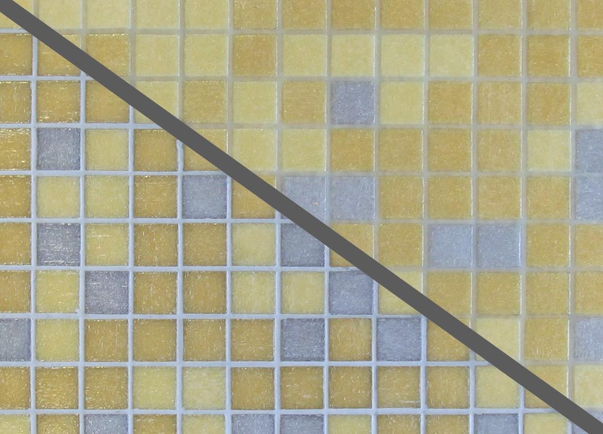 """Flächenvergleich: links ein farbiger Zement-Fugenmörtel, rechts die neue """"unsichtbare"""" Fuge. Foto: PCI"""