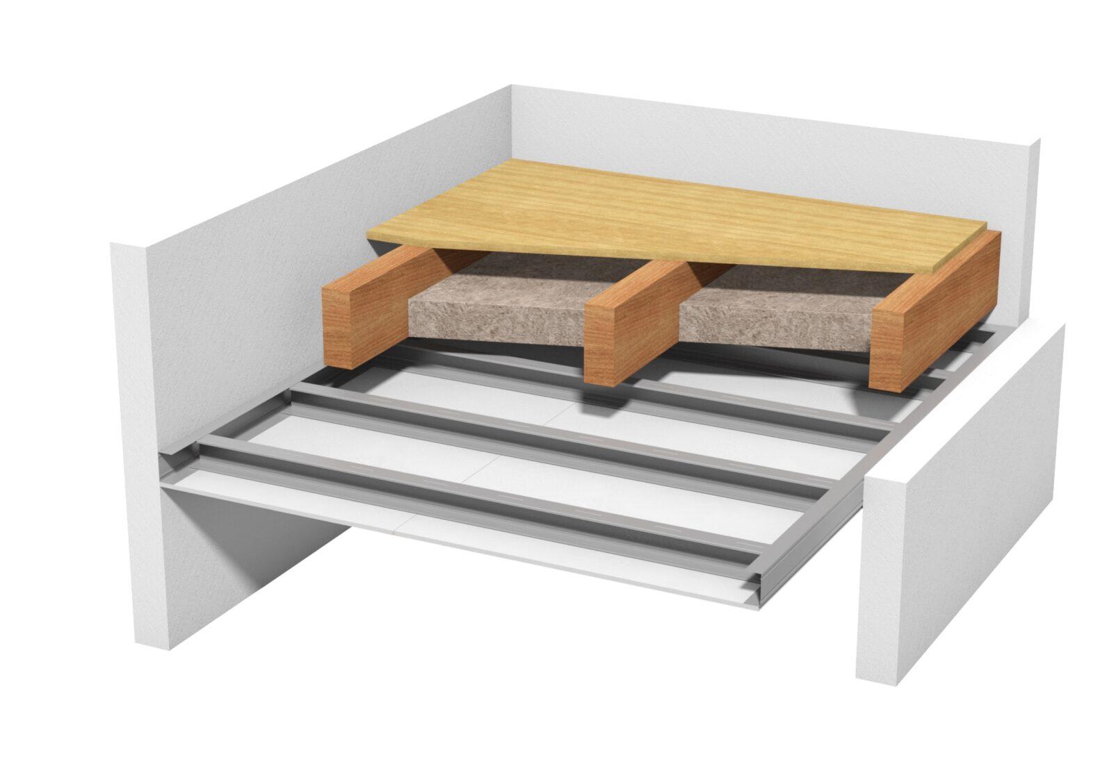 Freitragende Unterdecke unter einer Holzbalkendecke mit Dämmstoffeinschub. Grafik: Knauf