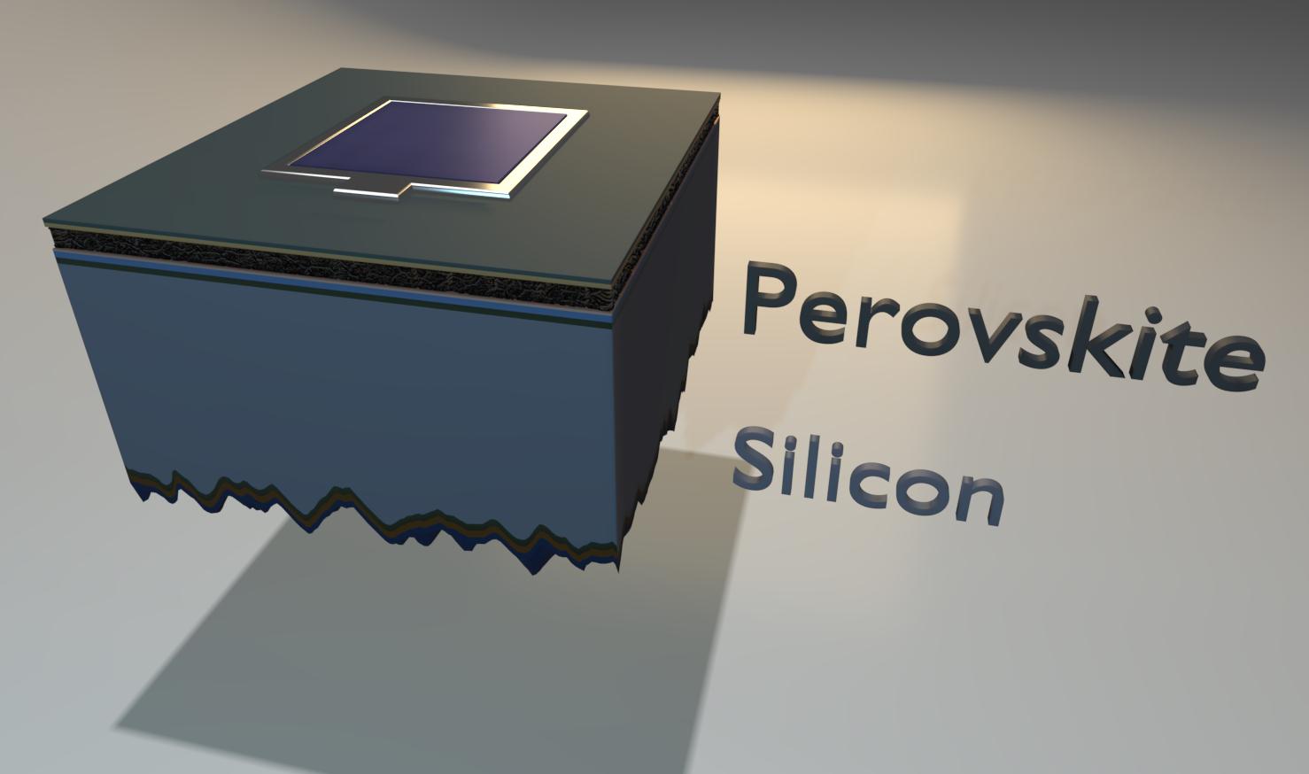 Zwischen der Perowskit-Schicht (schwarz) und der Silizium-Schicht (Silicon) liegen funktionale Zwischenschichten. Grafik: Eike Köhnen/HZB