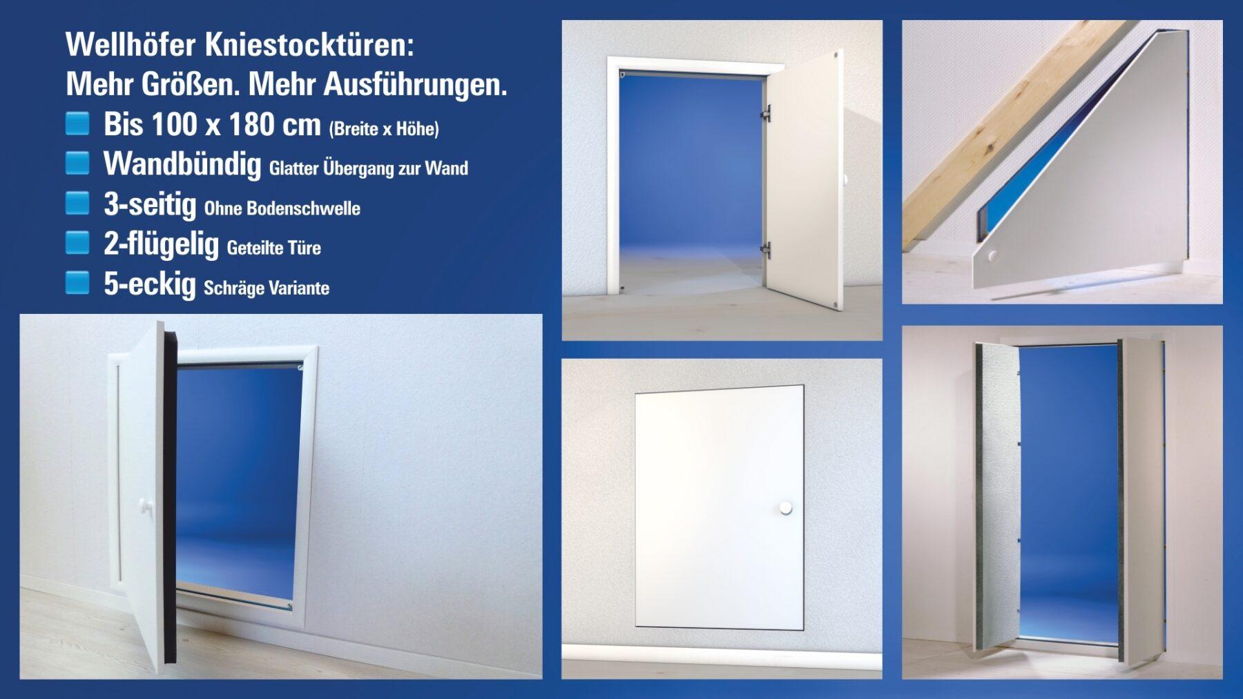 Klassisch, abgeschrägt, zweiflügelig, bodengleich: Es gibt viele Kniestocktür-Varianten. Foto: Wellhöfer