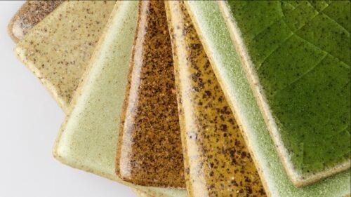 Das Angebot umfasst Grün-, Türkis-, Grau- und Brauntöne – mit glänzender oder matter Oberfläche. Foto: Shards