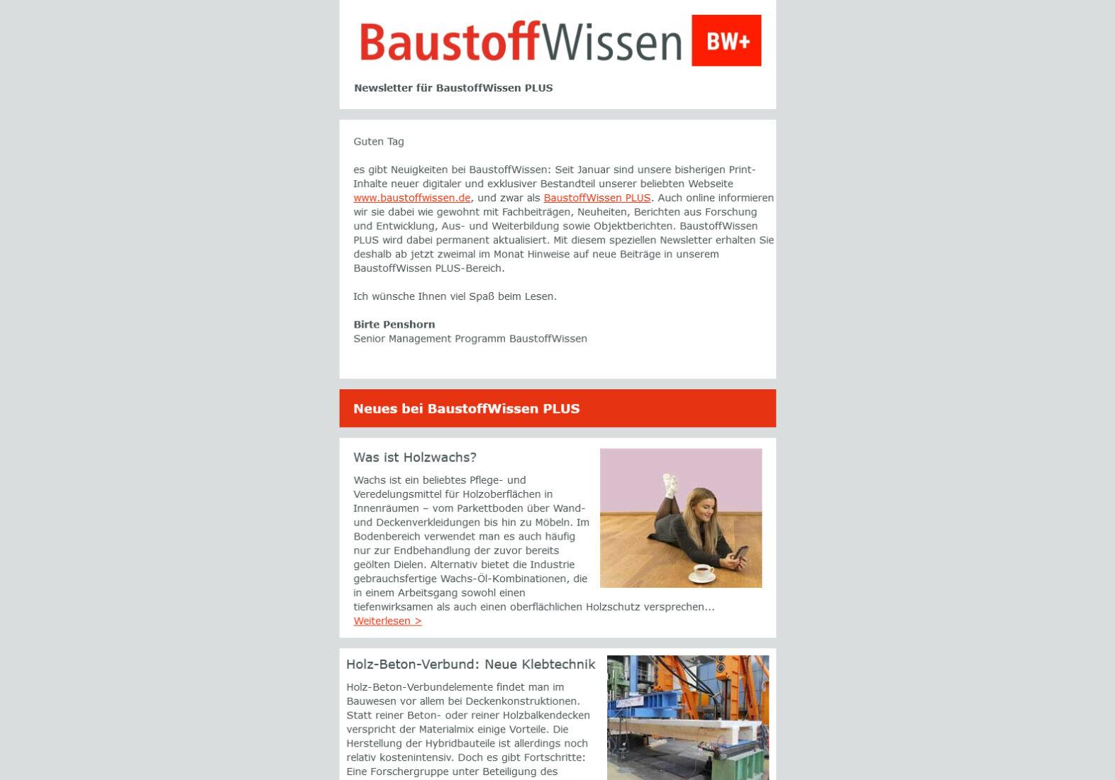 BaustoffWissen PLUS Newsletter