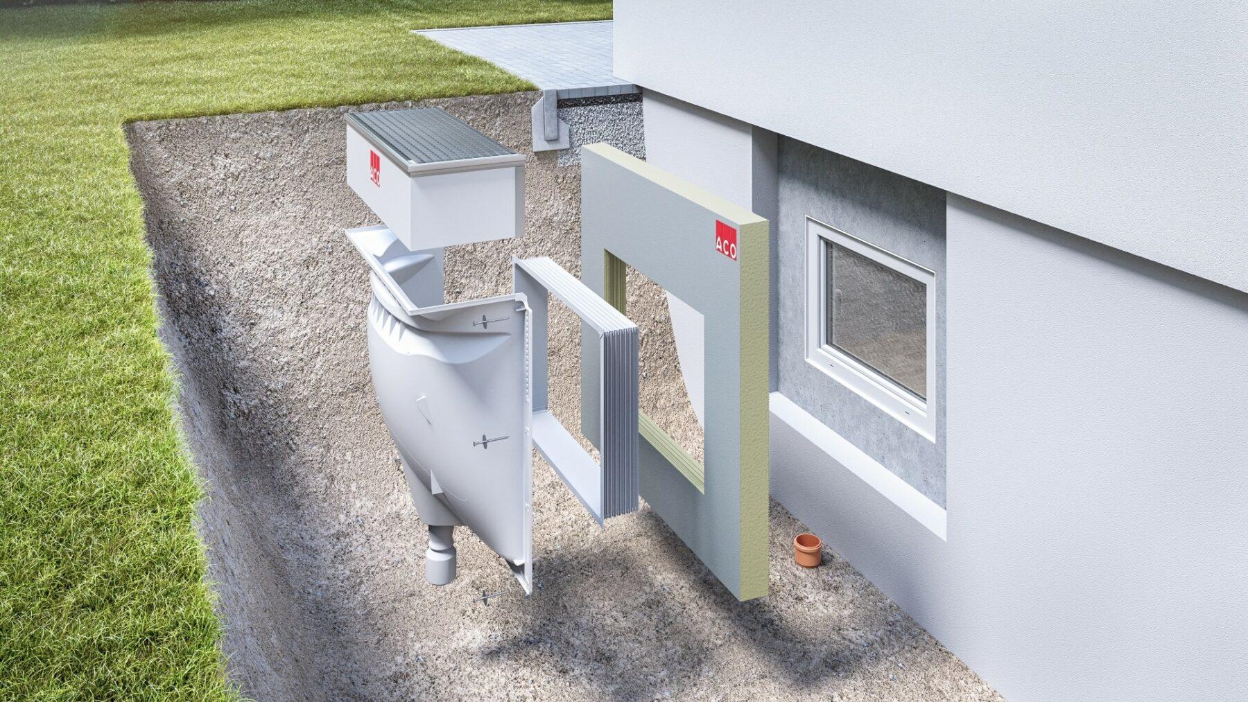 Das Kellerschutzsystem ACO Therm umfasst Fenster, Lichtschächte, Dämmungen und Rückstausicherungen. Foto: ACO