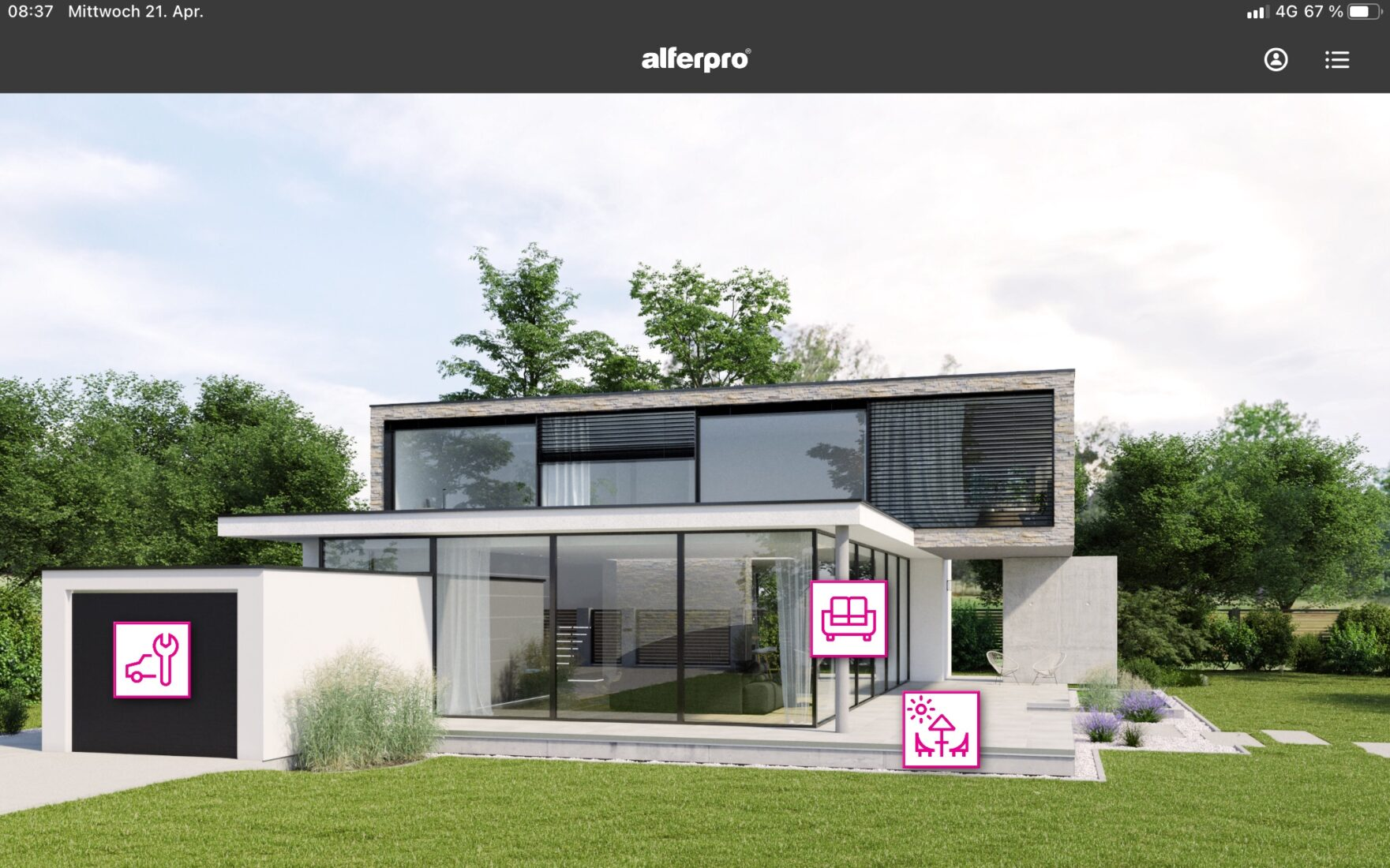 Im virtuellen Gebäude werden alle Profillösungen im eingebauten Zustand sichtbar. Bild: alferpro