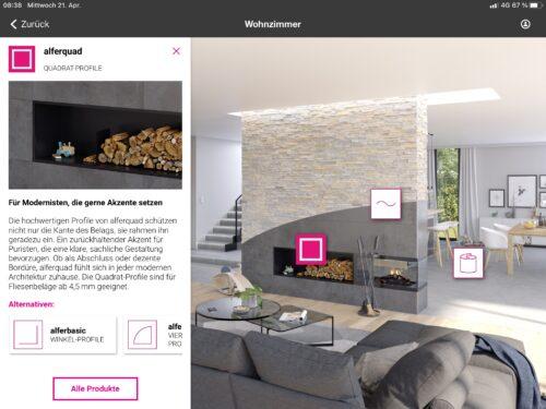 Veranschaulichung von Quadrat-Profilen im Wohnzimmerbereich. Bild: alferpro