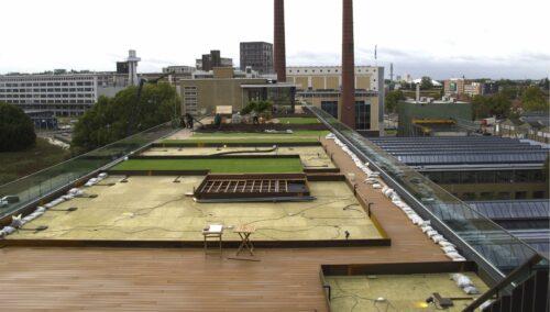 Einbau von wasserspeichernden Mineralwolle-Platten auf einem Gründach in Eindhoven. Foto: Nophadrain