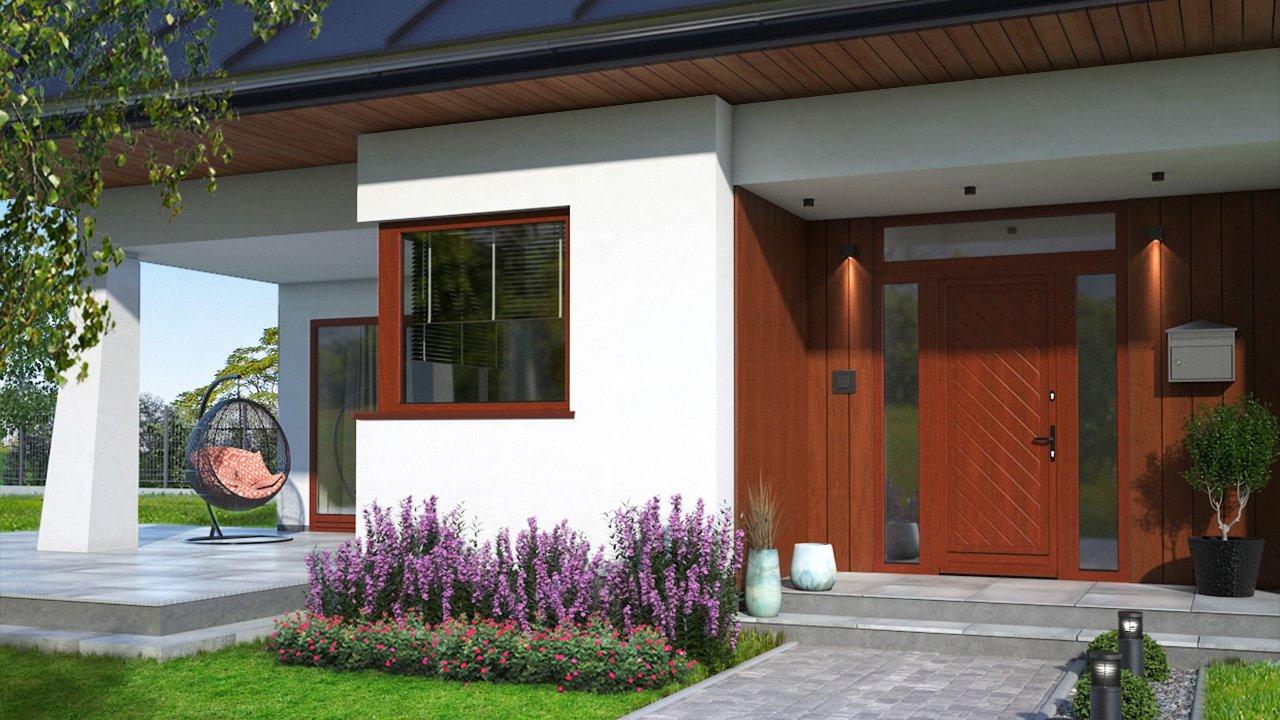 Die Holztür Softline 68 hat im unteren Kantenbereich schützende Aluminiumleisten. Foto: Drutex S.A.
