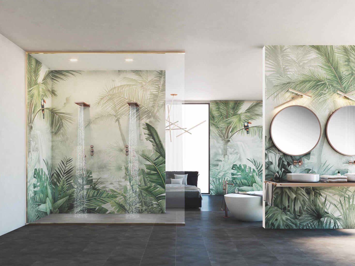 Bei wasserdichter Ausführung sind Tapeten selbst in der Dusche eine sichere Option. Foto: Mapei