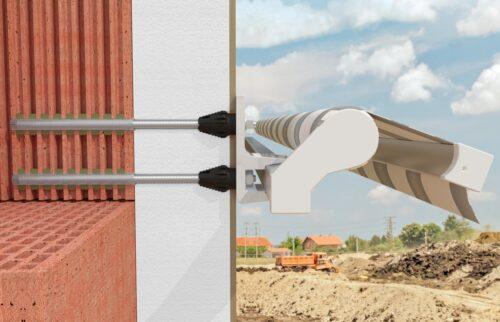 Thermax-Abstandsmontagesystem für schwere Lasten mit Ankerhülse im Lochstein und thermischem Trennmodul (schwarz).