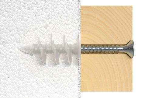 Dämmstoffdübel eignen sich für geringe Lasten auf EPS oder PU, wenn diese flach an der Wand anliegen.