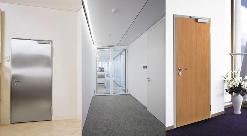Feuerschutztüren mit vielfältiger Optik: Edelstahlblech, Metallrohrrahmen mit Glaseinsatz, Holzdekor
