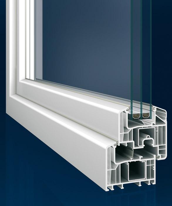 Querschnitt Kunststoff-Fenster