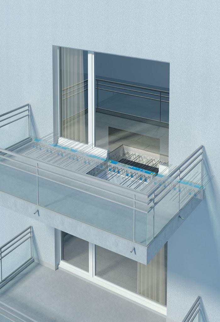 Balkon-Bewehrungsbauteile