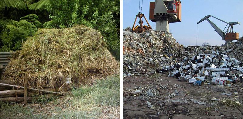 Komposthaufen und Müllberg